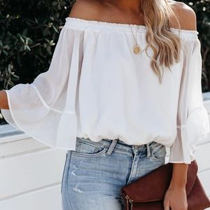 Vici White Chiffon Off-the-Shoulder Top